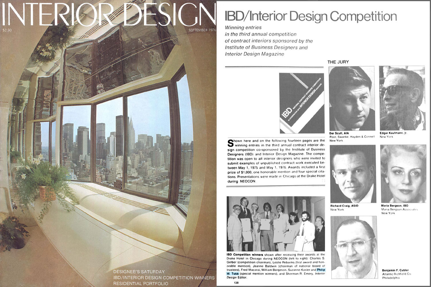 Interior Design Magazine Article (9/76) pg.138; 316 East 53rd Street Studio