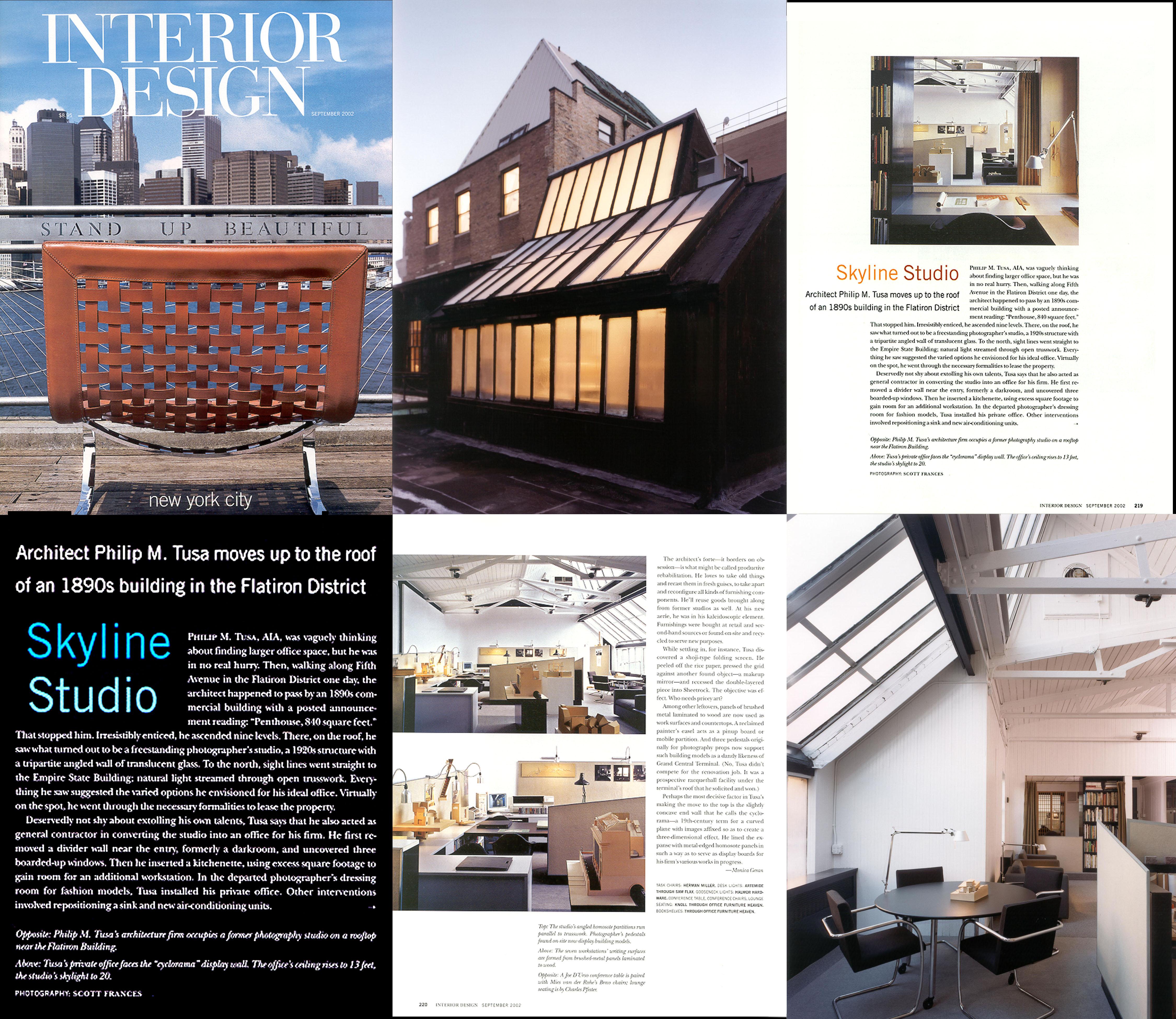 Interior Design Magazine (9/02) pg 218; 160 5th Avenue Penthouse Studio
