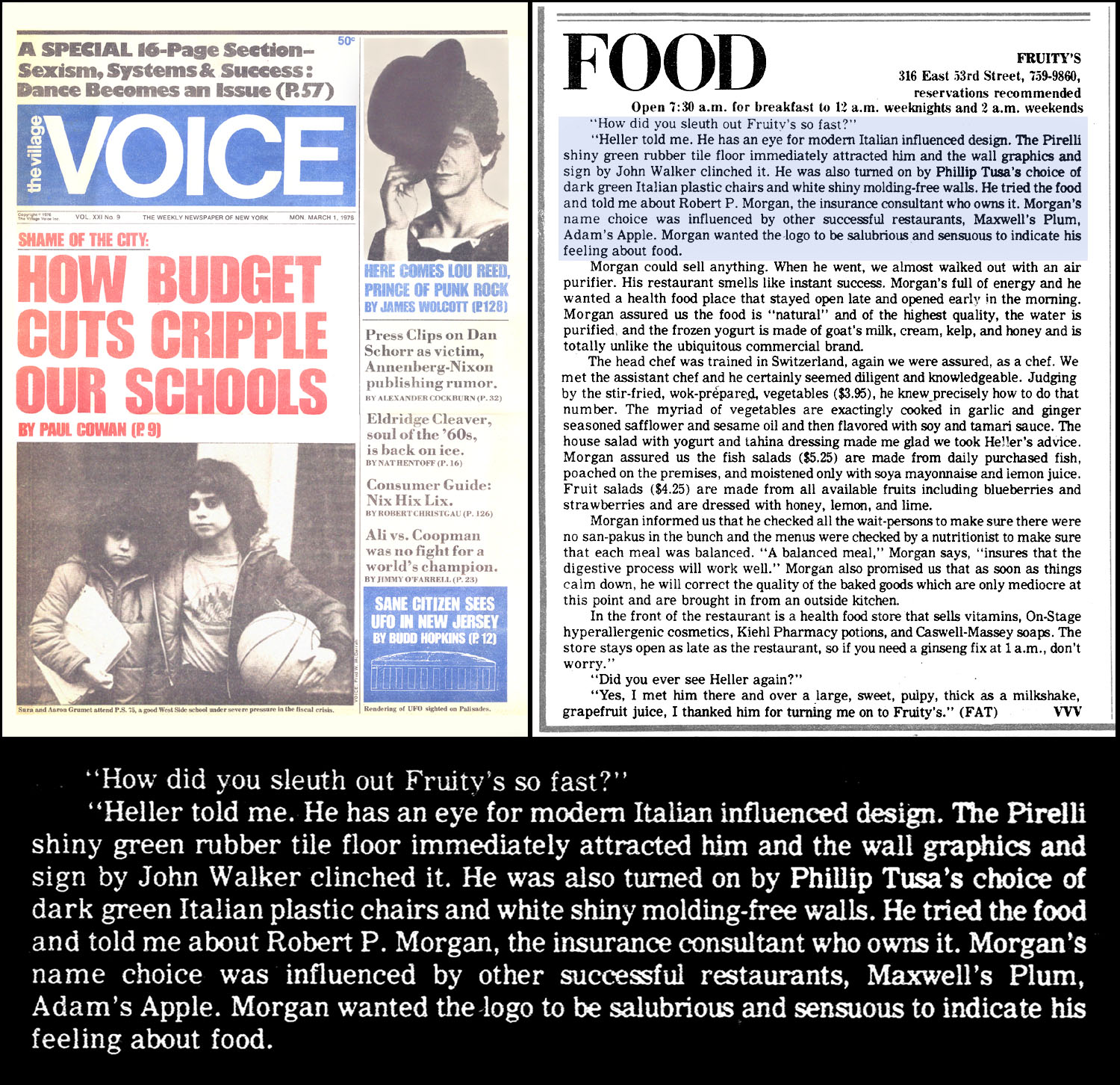 Village Voice Review (3/1/76) centerfold; Fruity's Restaurant