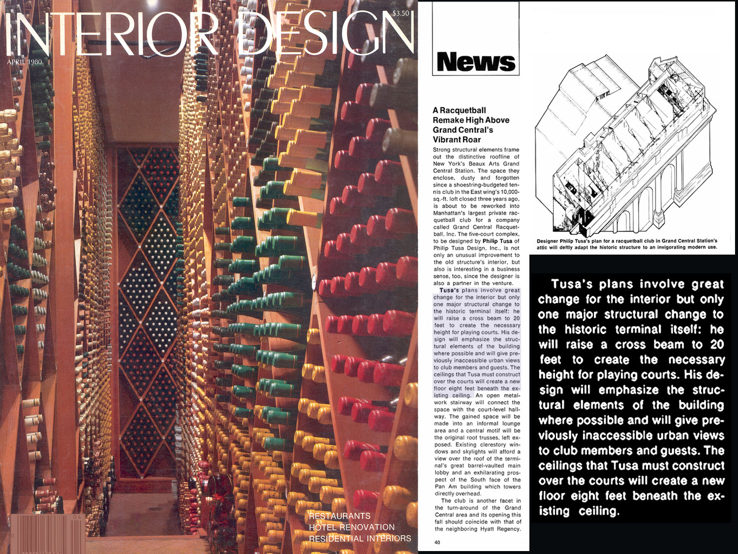 Interior Design Magazine Article (4/80) pg 40; Grand Central Racquetball Club