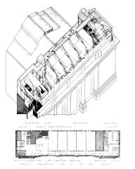 Grand Central Racquetball Club Plan & Axonometric Drawing