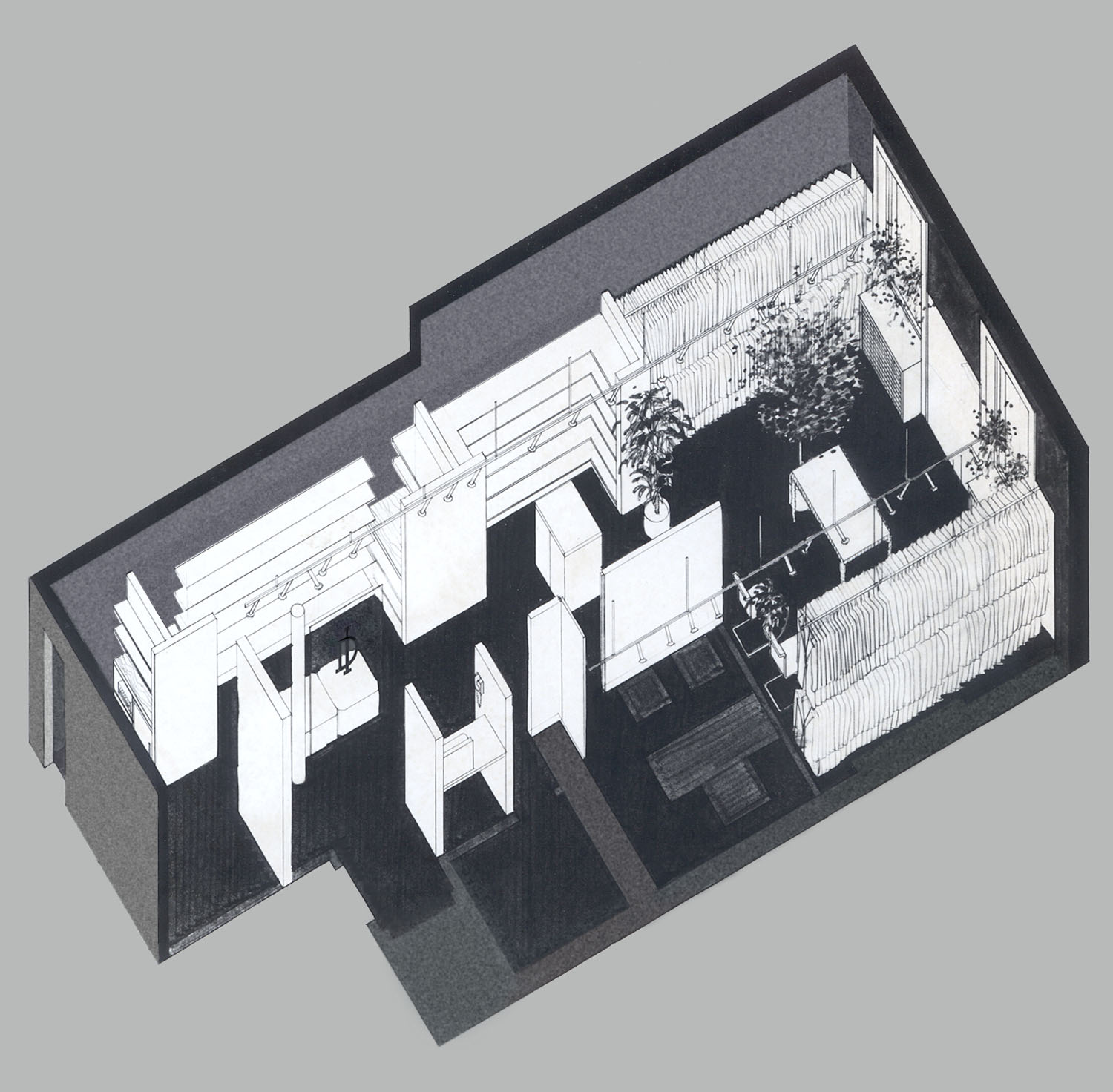 Piero Dimtri Showroom Axonometric Drawing