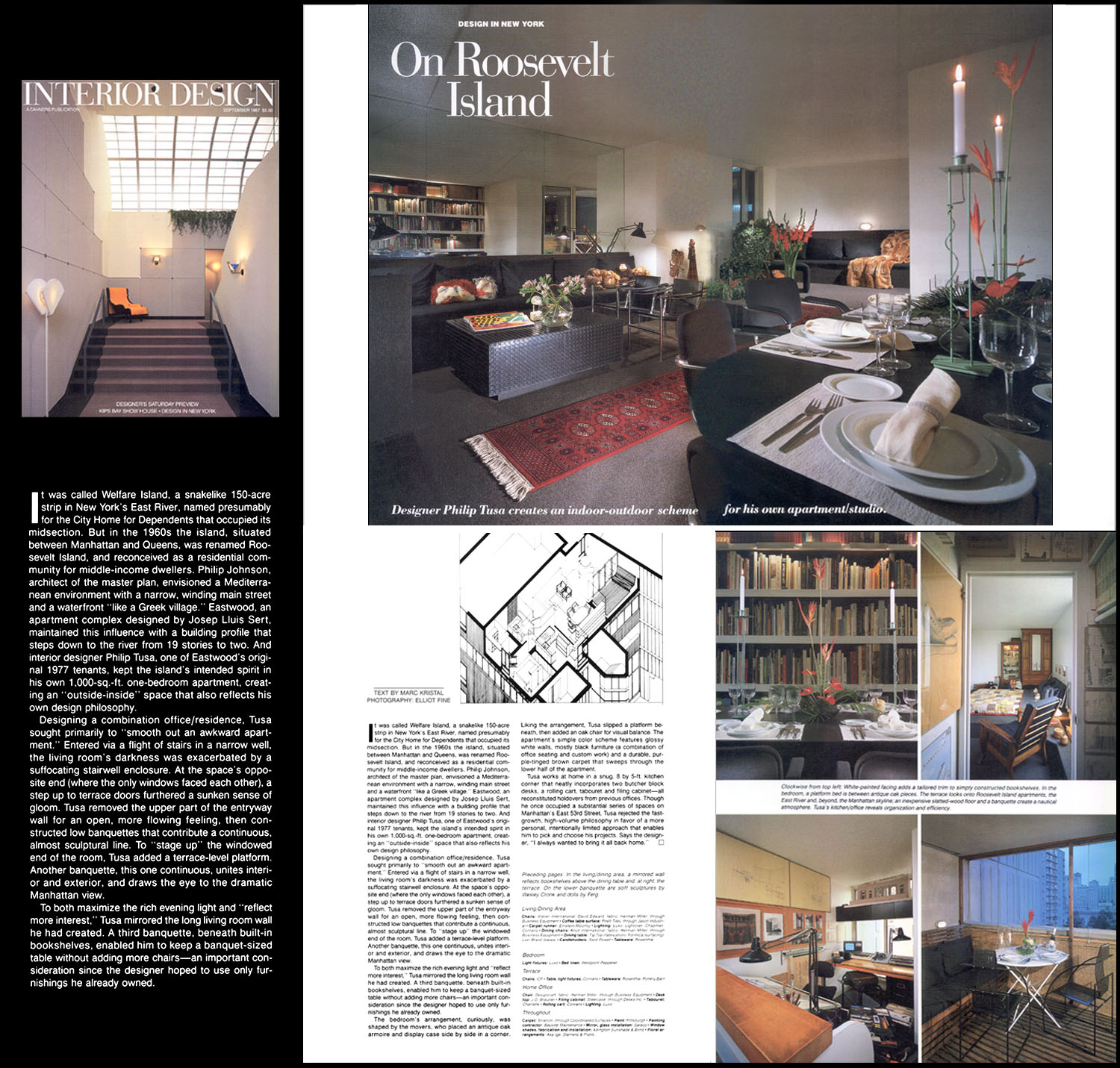 Interior Design Magazine Article (9/87) pg 274; Roosevelt Island Apartment