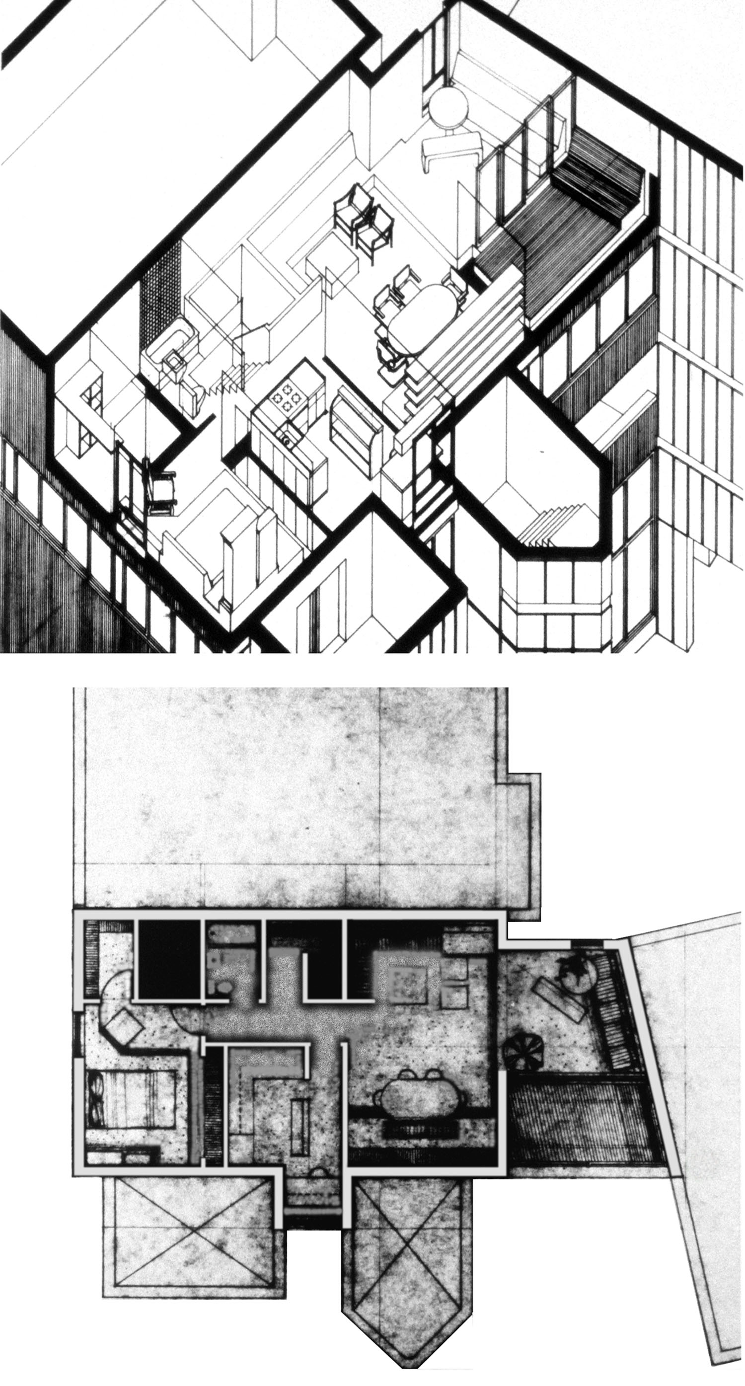 Roosevelt Island Apartment Plan & Axonometric Drawing