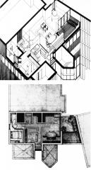 Roosevelt Island Apartment Plan & Axonometric Drawing