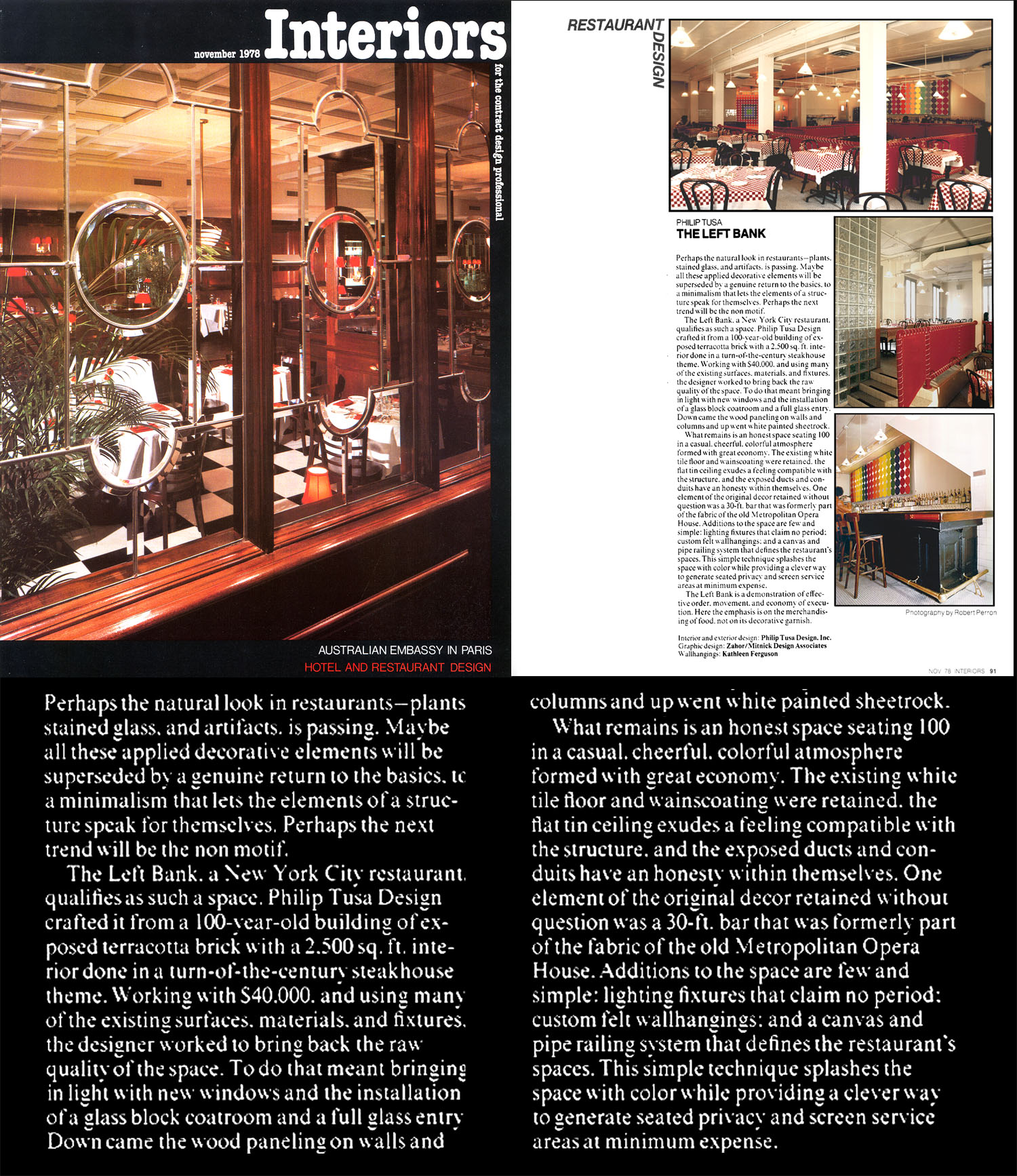 Interiors Article (11/78), page 91; The Left Bank Restaurant