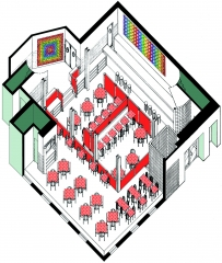 The Left Bank Restaurant Axonometric Drawing